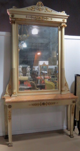 FRENCH EMPIRE STYLE PIER MIRROR & MARBLETOP CONSOLE