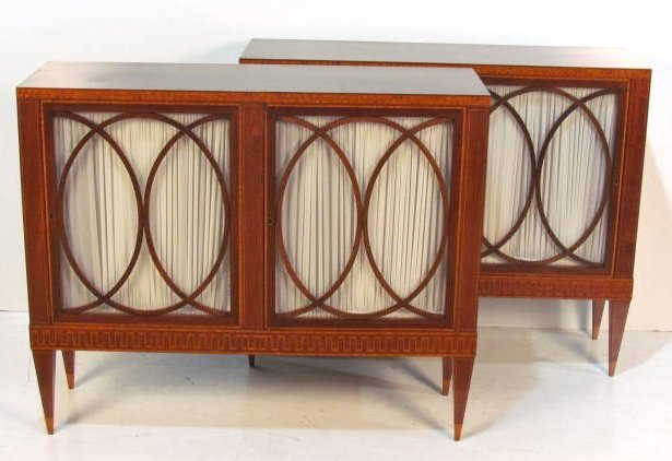 Pair CUSTOM ENGLISH INLAID BOOKCASES