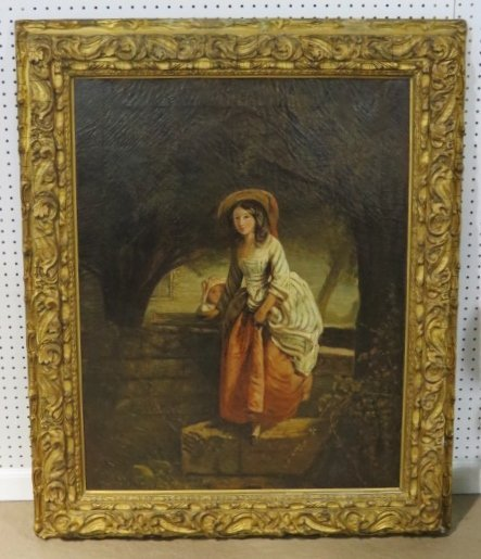 19th c. PAINTING of a MAIDEN w/ YOUNG GIRL