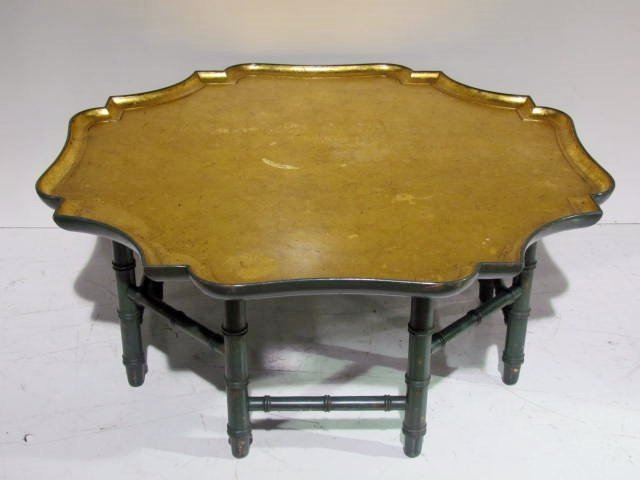 GOLD LEAF & PAINTED FAUX BAMBOO COFFEE TABLE