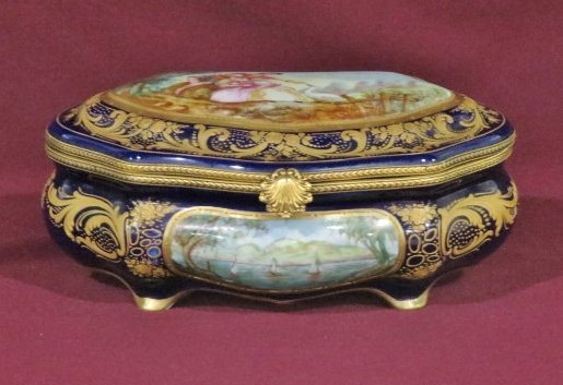 SEVRES PORCELAIN HAND PAINTED GILT MOUNTED BOX