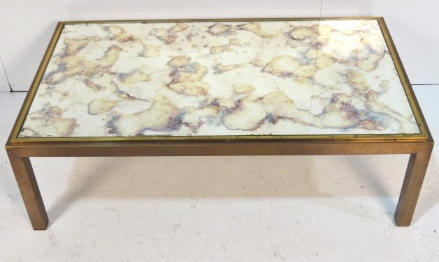 MODERN BRASS COFFEE TABLE w/ EGLOMISE GLASS TOP