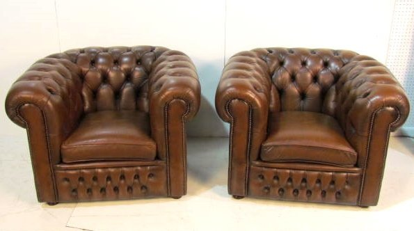 Pair TUFTED LEATHER CHESTERFIELD CLUB CHAIRS