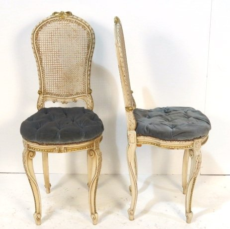 Pair FRENCH DISTRESS PAINTED CANED BACK CHAIRS
