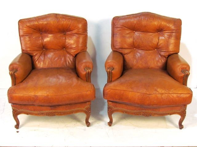 Pair FRENCH CARVED LEATHER BERGERES