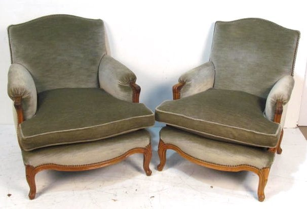 Pair FRENCH CARVED MOHAIR BERGERES