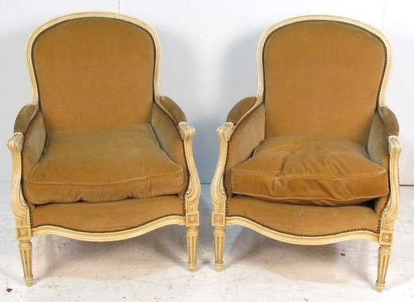 Pair CREAM PAINTED LOUSI XVI STYLE BERGERES