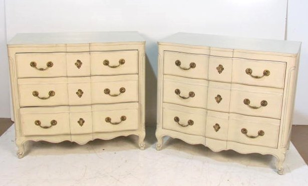 Pair COUNTRY FRENCH DISTRESS PAINTED COMMODE