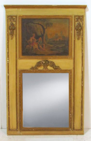 19th c. FRENCH TRUMEAU MIRROR w/ OIL PAINTING
