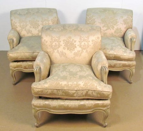 3 FRENCH CREAM PAINTED BERGERES