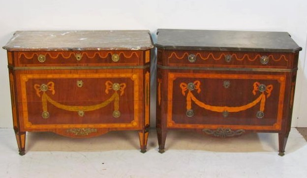 COMPANION Pair CONTINENTAL INLAID MARBLETOP COMMODE