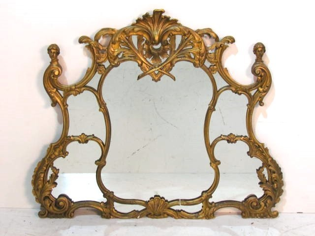 ANTIQUE FRENCH GILT MIRROR w/ LADIES HEADS