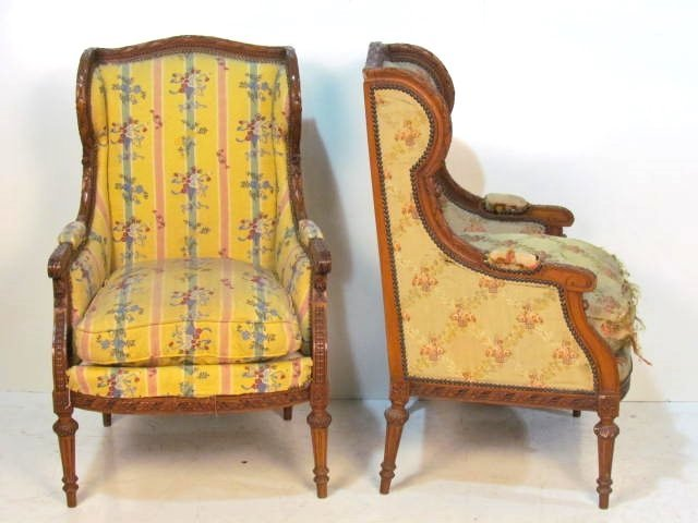 Pair FRENCH CARVED LOUIS XVI STYLE WALNUT BERGERES