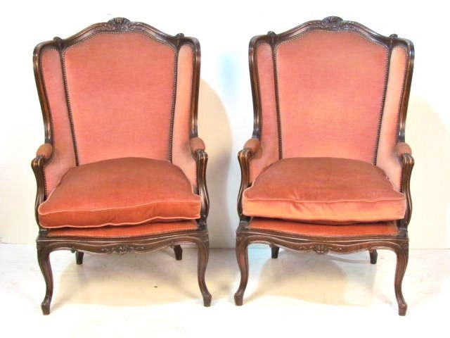 Pair LOUIS XV STYLE CARVED WALNUT BERGERES