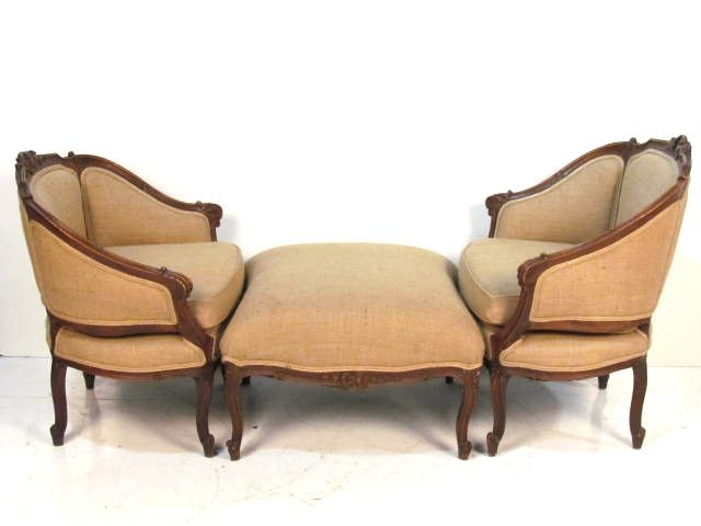 3 pc. LOUIS XV STYLE WALNUT & BURLAP CHAISE LOUNGE
