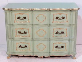 COUNTRY FRENCH PAINT DECORATED PARCEL GILT COMMODE