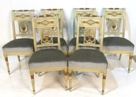 6 NEOCLASSICAL STYLE PAINTED & GILT DINING CHAIRS
