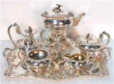 ODIOT PARIS STERLING SILVER 5 pc TEA SET  TRAY