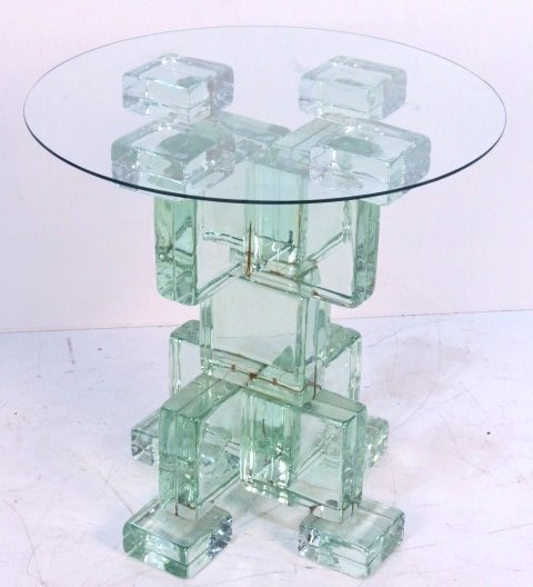 ITALIAN MODERN GLASS BLOCK ROUND PEDESTAL TABLE
