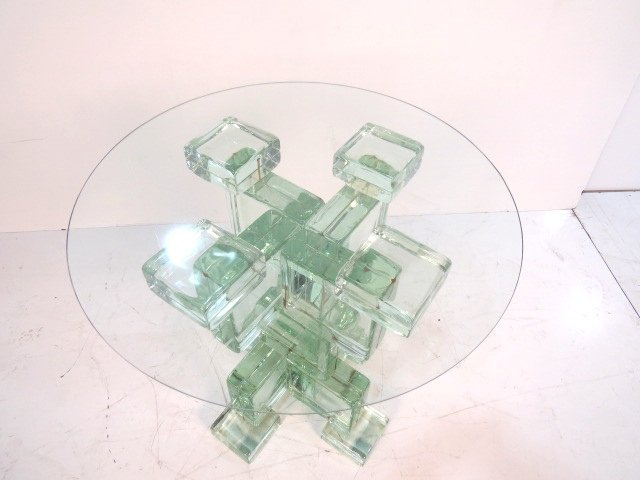 ITALIAN MODERN GLASS BLOCK ROUND PEDESTAL TABLE - 2