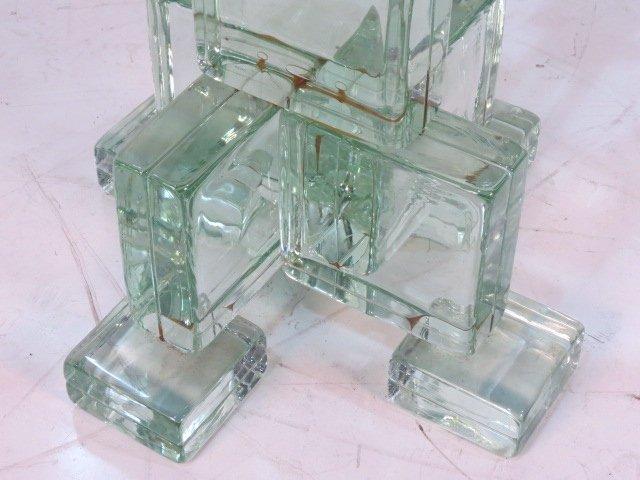 ITALIAN MODERN GLASS BLOCK ROUND PEDESTAL TABLE - 3