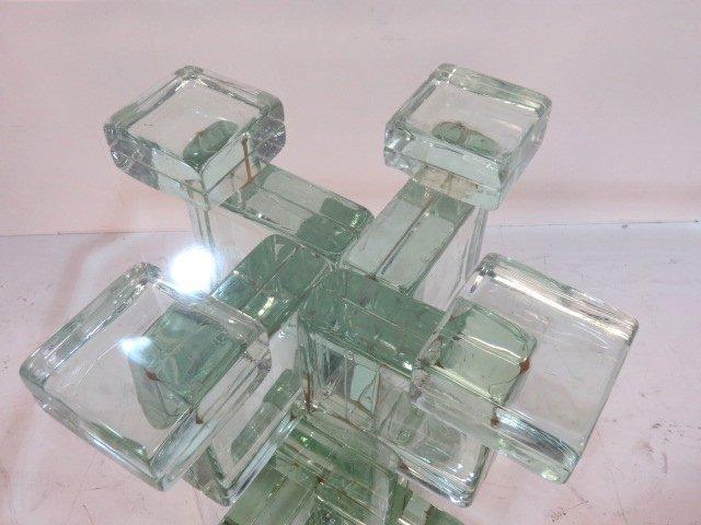 ITALIAN MODERN GLASS BLOCK ROUND PEDESTAL TABLE - 4
