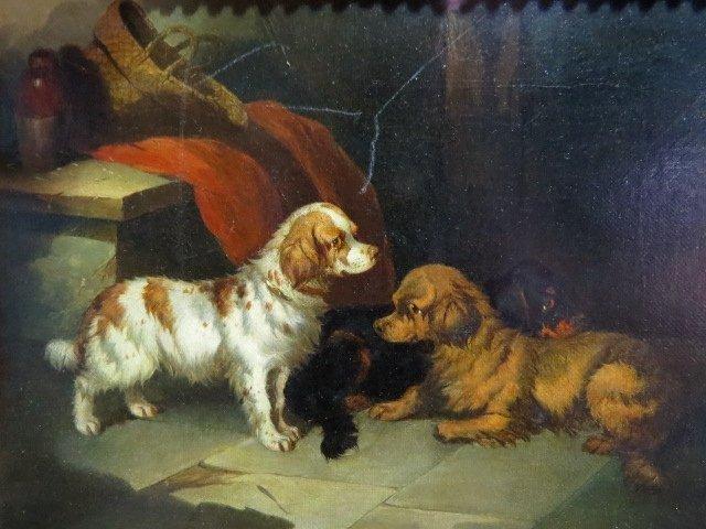 Pair PAUL JONES OIL PAINTINGS DOGS RATTING - 4