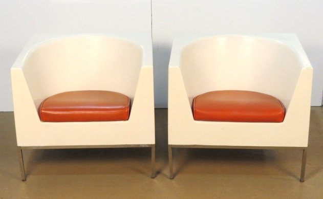 Pair MASSIMO VIGNELLI PLASTIC CUBE LOUNGE CHAIRS