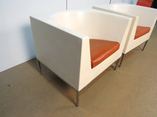 Pair MASSIMO VIGNELLI PLASTIC CUBE LOUNGE CHAIRS - 4