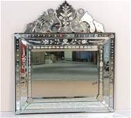 44 X 38 VENETIAN ETCHED GLASS MIRROR