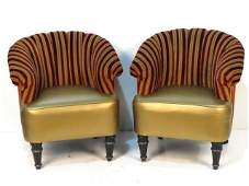 Pair HOLLYWOOD REGENCY STYLE UPHOLSTERED CLUB CHAIRS