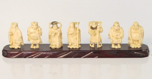 7 Chinese Ivory Carvings Gods Of Good Fortune