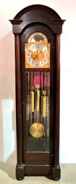 ANTIQUE HERSCHEDE MAHOGANY GRANDFATHER'S CLOCK