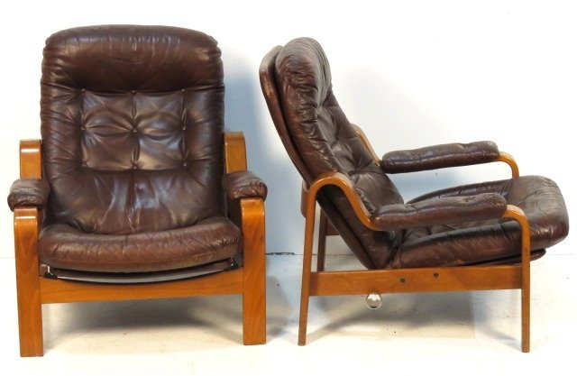 Pair GOTE MOBLER SWEDISH LEATHER LOUNGE CHAIRS