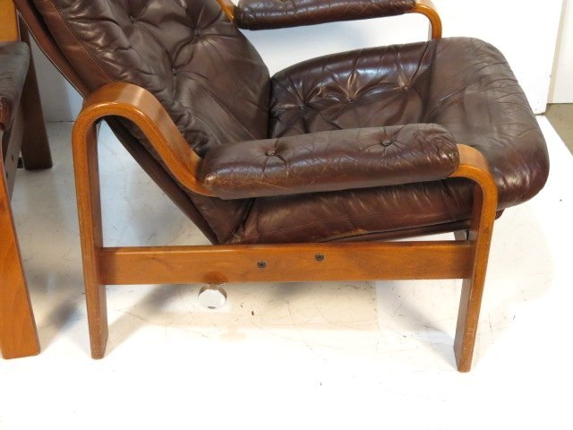 Pair GOTE MOBLER SWEDISH LEATHER LOUNGE CHAIRS - 2