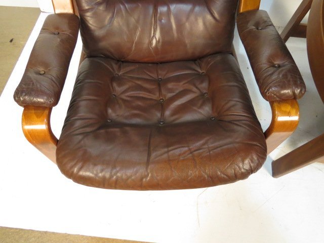 Pair GOTE MOBLER SWEDISH LEATHER LOUNGE CHAIRS - 3