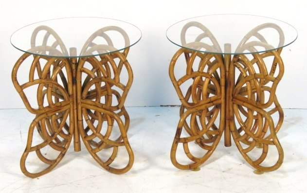 Pair FOLDING BAMBOO GLASSTOP BUTTERFLY TABLES
