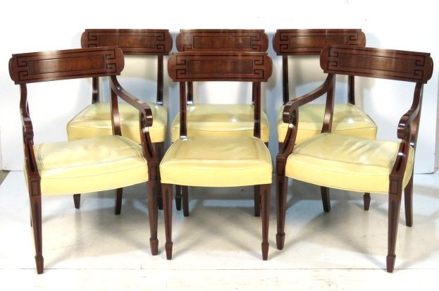 6 KITTINGER REGENCY STYLE MAHOGANY DINING CHAIRS