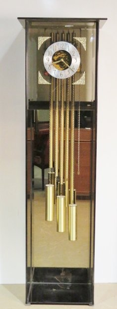 dykstra modern smoked glass grandfather clock