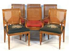 6 LOUIS XVI STYLE CARVED CANEBACK DINING CHAIRS