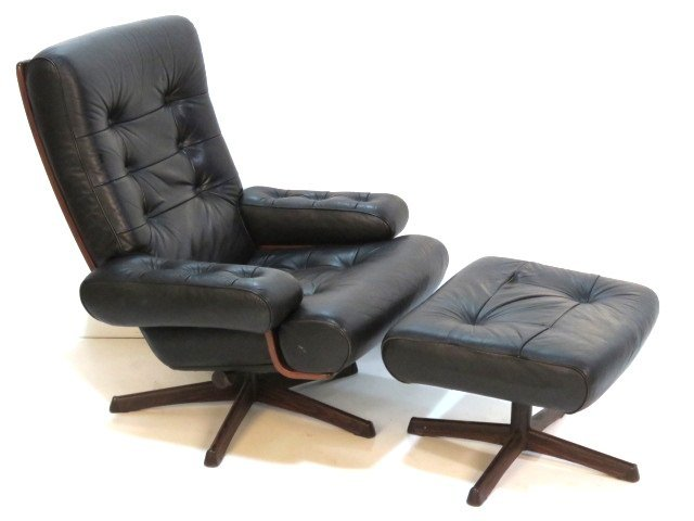 mobler black leather lounge chair ottoman