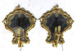 Pair ANTIQUE ITALIAN GILT WOOD MIRRORED SCONCES
