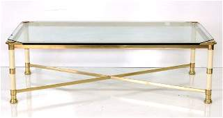 ITALIAN MODERN BRASS  GLASS COFFEE TABLE