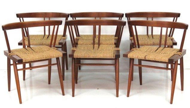 6 GEORGE NAKASHIMA GRASS SEAT CHAIRS
