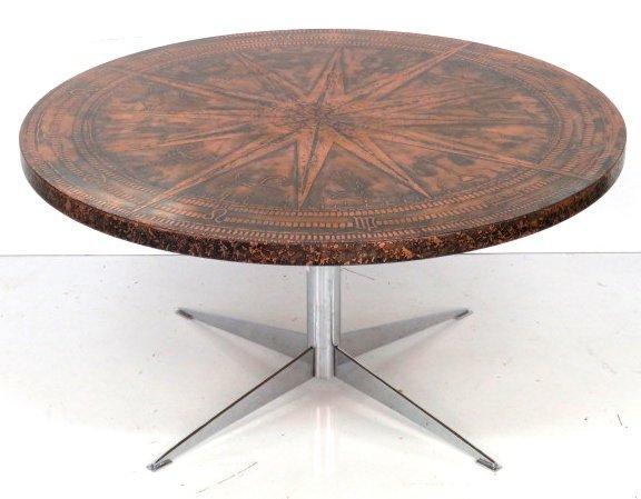 MODERN COFFEE TABLE w COPPER ZODIAC TOP