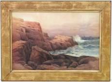 MELBOURNE H. HARDWICK WATERCOLOR ROCKY COASTLINE