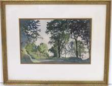 ALEXANDER BENOIS WATERCOLOR LANDSCAPE w TREES