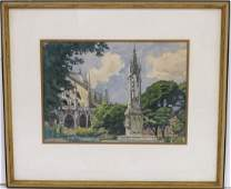 ALEXANDER BENOIS WATERCOLOR CATHEDRAL w MONUMENT