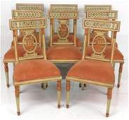 8 DIRECTOIRE STYLE PAINT DECORATED DINING CHAIRS