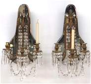 Pair FRENCH MIRROR BACK BRONZE SCONCES
